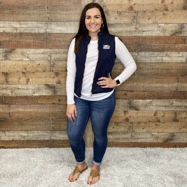 Navy Quilted Front Zipper Vest Georgia Southern Athletic Logo | Georgia Southern Apparel | TrueGSU